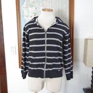 Zip Up Hoodie Sweatshirt Black Stripe Quicksilver